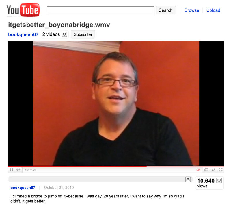 """Image shows a YouTube video made by David Valdes Greenwood for the """"It Gets Better"""" project. Hundreds of people in the gay community have posted """"It Gets Better"""" videos after a recent spate of suicides by teenagers who were believed to be victims of anti-gay bullying."""