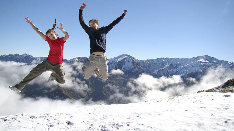 Jackson and Logan Marshall during a hike on Mount Fyffe in New Zealand.