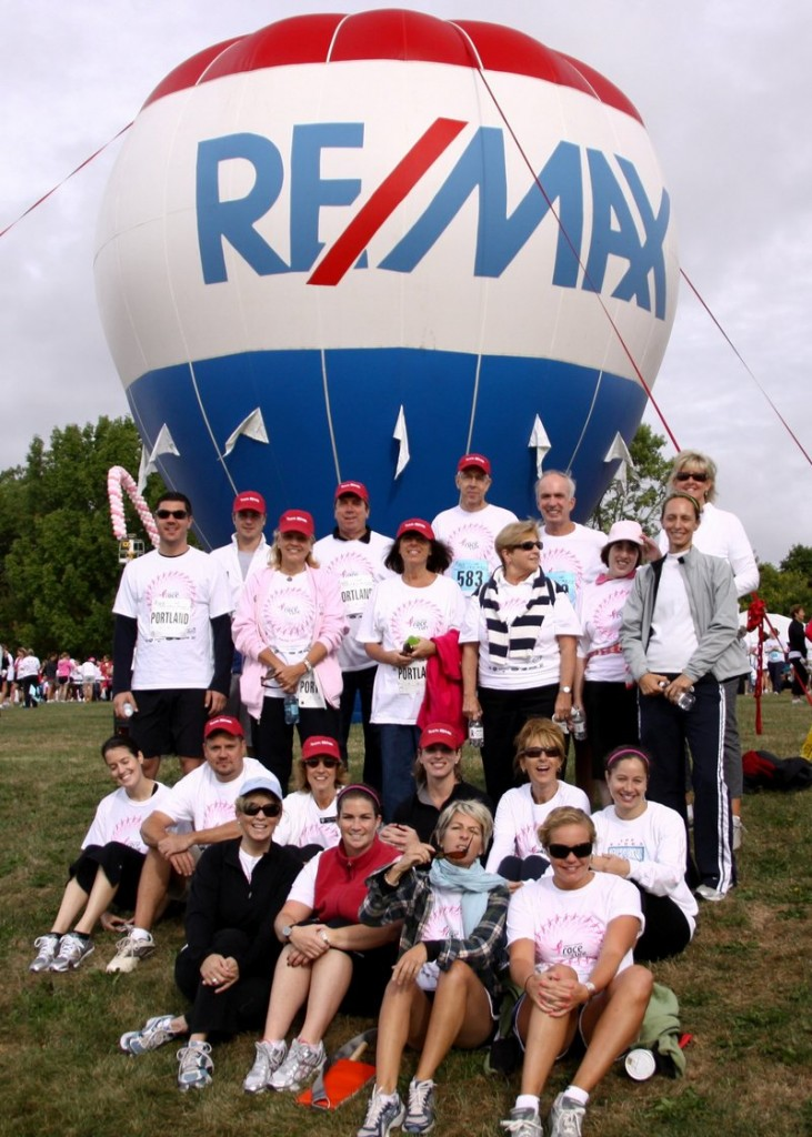 The RE/MAX Maine Race Team meets for the Susan G. Komen Race for the Cure in Payson Park in Portland.