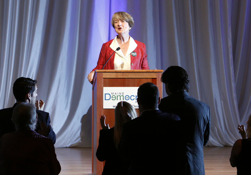 "Gubernatorial candidate Elizabeth ""Libby"" Mitchell rallies Democrats at the Jefferson-Jackson dinner in Scarborough on Sunday."