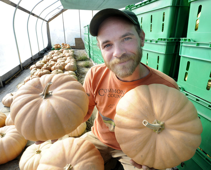 Chris Cavendish of Fishbowl Farm in Bowdoinham with some of the 1,000-plus pounds of Long Island cheese squash that he grew this season.