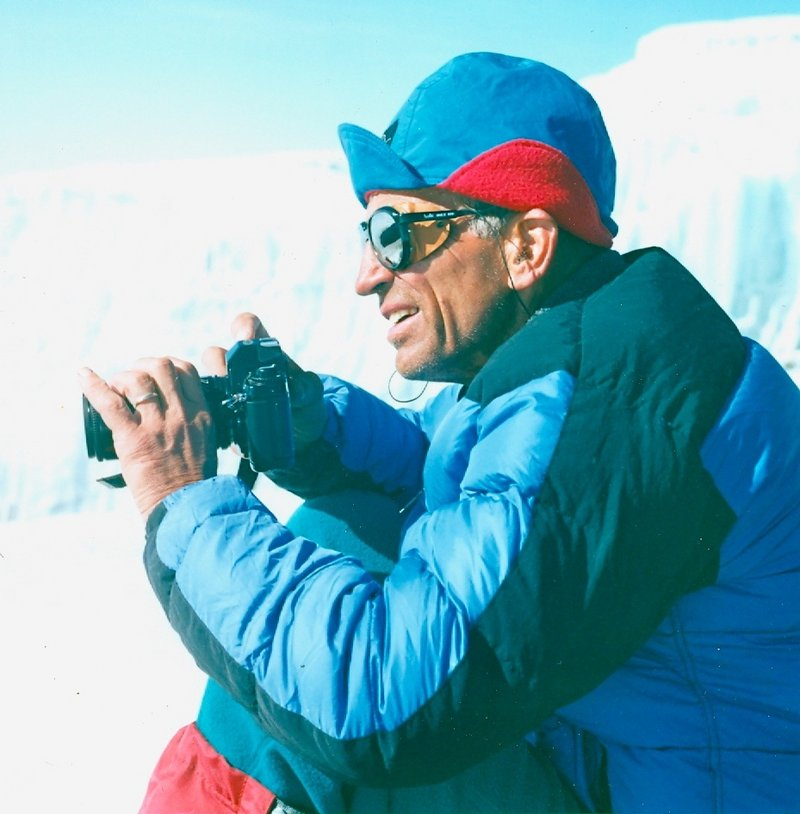Lloyd Holmes with his camera on an ascent of Mount Kilimanjaro in 1989.