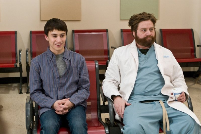 Keir Gilchrist, left, and Zach Galifianakis forge an unlikely friendship in a psychiatric ward in