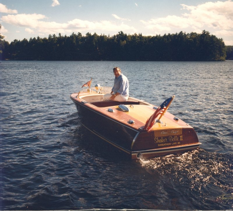 Stephen Dunlap is shown on his cherished Shaker Belle II, his father's 1951 Chris-Craft that he refurbished and enjoyed on Sabbathday Lake in New Gloucester.