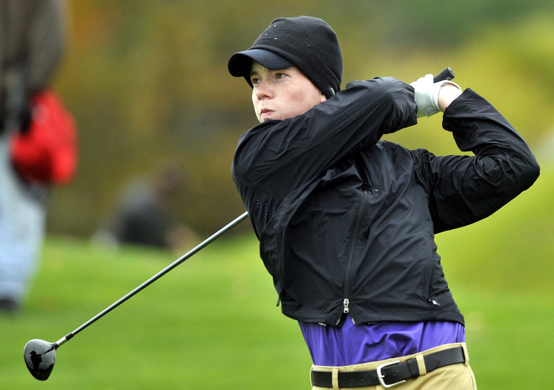 Joe Walp of Deering hits his tee shot on the fourth hole during the state individual golf championships Saturday at Natanis Golf Course.