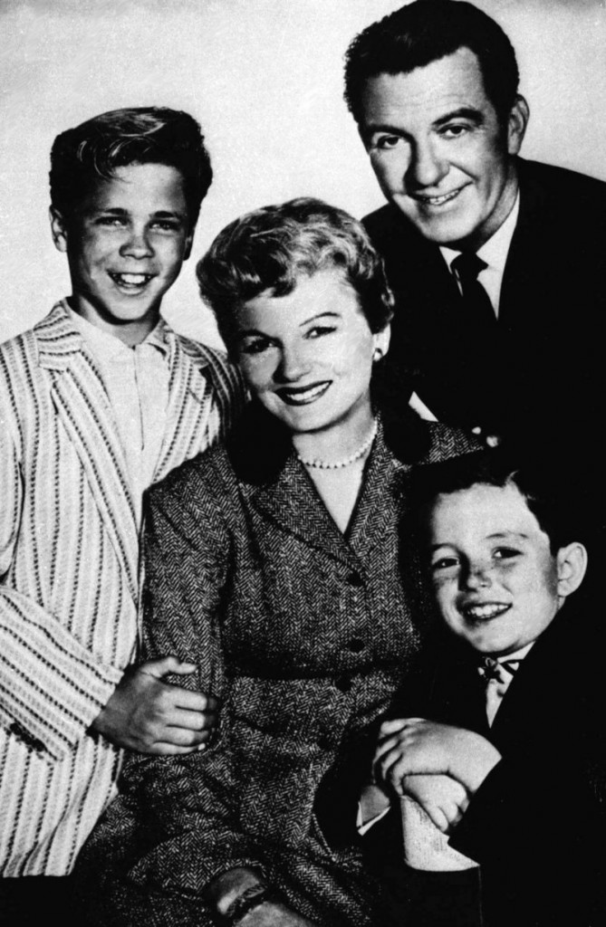 """File photo shows, from left, Tony Dow as Wally, Barbara Billingsley as June, Hugh Beaumont as Ward and Jerry Mathers as the Beaver, the cast of the television series """"Leave It to Beaver."""""""