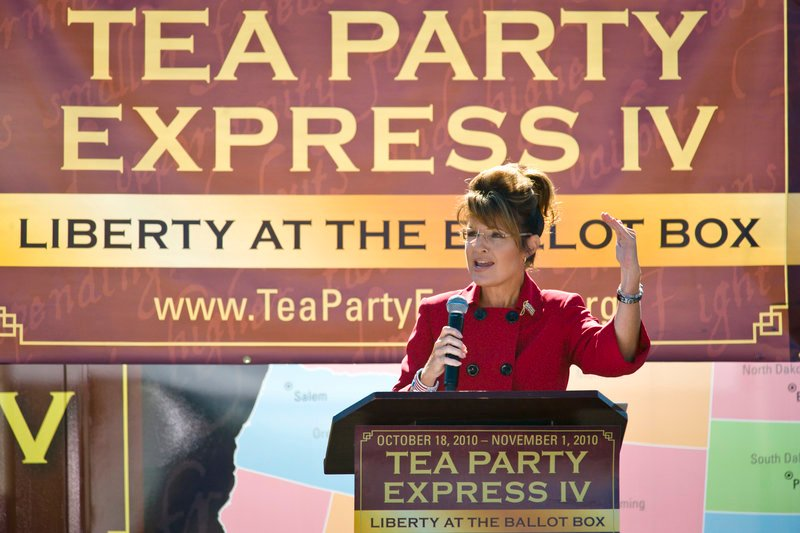 Former Alaska governor Sarah Palin speaks to the crowd Monday during the kickoff of the nationwide Tea Party Express bus tour in Reno, Nev.