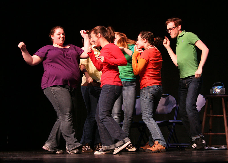 Student actors affiliated with Add Verb Productions dance at the start of Monday's performance of the Out & Allied Project at the University of Southern Maine in Gorham. The show is by and about gay, bisexual, transgender and questioning youths and their allies.