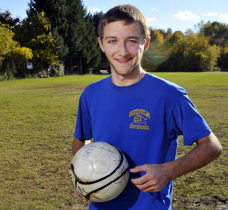 Anthony Simpson of Greater Portland Christian not only has scored 30 goals in the team's 13 games this season, but has shown a work ethic that has inspired teammates.