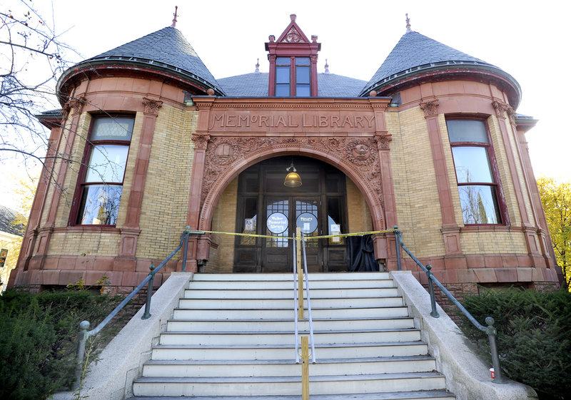 Walker Memorial Library, built in 1893, needs repairs to its slate roof and exterior walls, which have allowed rainwater to damage the interior.