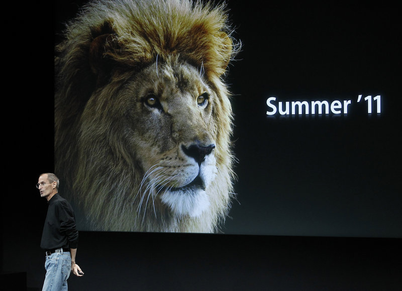 CEO Steve Jobs talks about Apple's new operating system, called Lion, at the company's headquarters in Cupertino, Calif., on Wednesday.