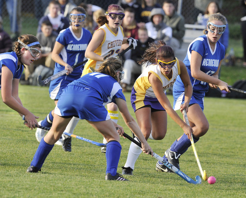 Gabi Cardona of Cheverus attempts to thread her way through the Kennebunk defense. Cardona scored in the first half and took a shot that led to a second-half goal.