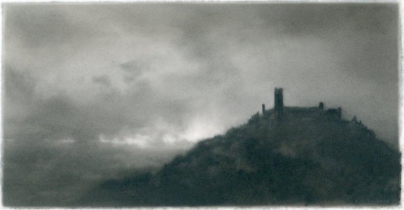 """Burg,"" charcoal on mylar, by Dozier Bell"