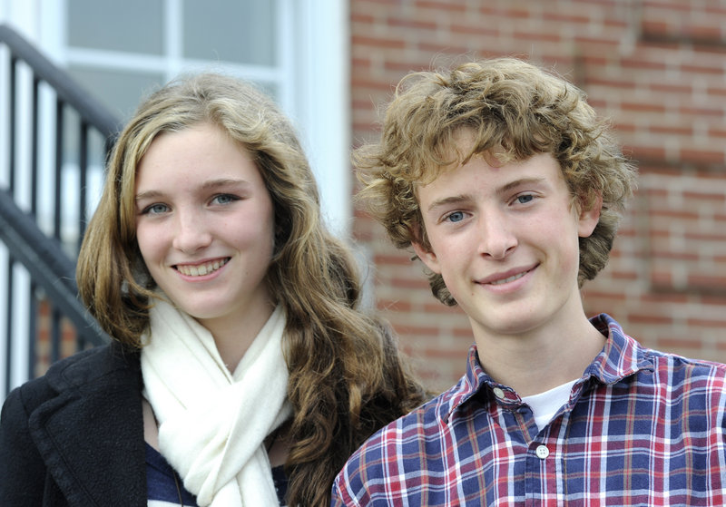 Zoe Chace-Donahue, left, and Jack Pierce are two of the top runners for Merriconeag, which has 37 students but will be a force in the Western Class C and state cross country meets.