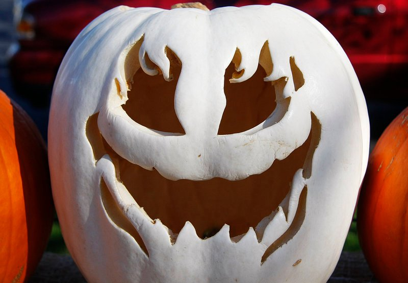 A ghostly gourd rests on a fence amid the Ogunquit festivities, which continue today.