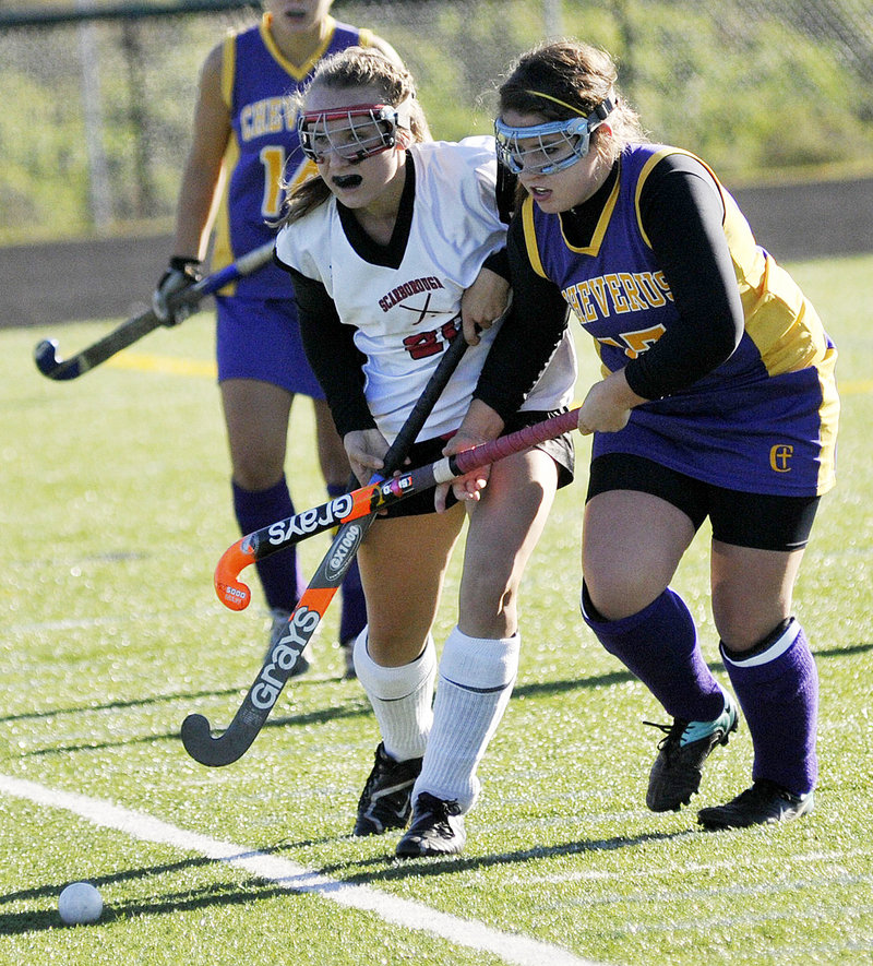 Grace Whelan of Scarborough, left, and Annie DiLisio of Cheverus compete for the ball Saturday during Cheverus' 2-1 victory that eliminated the top-ranked Red Storm.