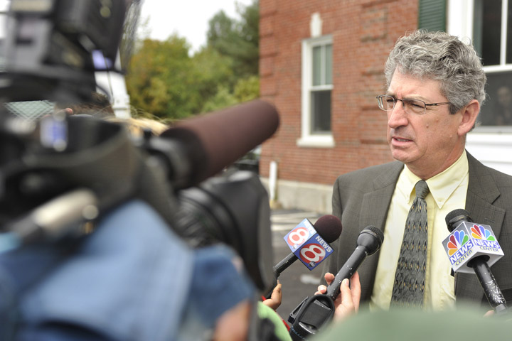 Prosecuting attorney William Stokes talks to the media outside York County Superior Court following the conviction this morning of Jason Twardus in the murder of Kelly Gorham.