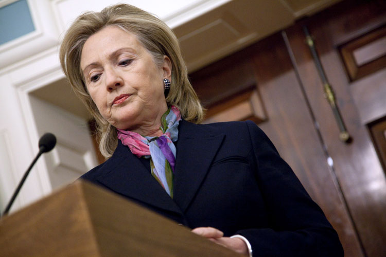 Secretary of State Hillary Rodham Clinton looks at her notes while making a statement today on the Wikileaks document release.