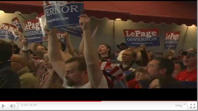 Supporters rally at Paul LePage's campaign headquarters in Waterville on Election Night