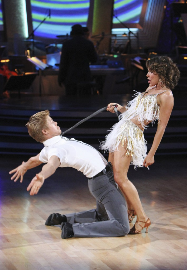 "Jennifer Grey and her partner Derek Hough show off their moves on ""Dancing with the Stars"" last week."
