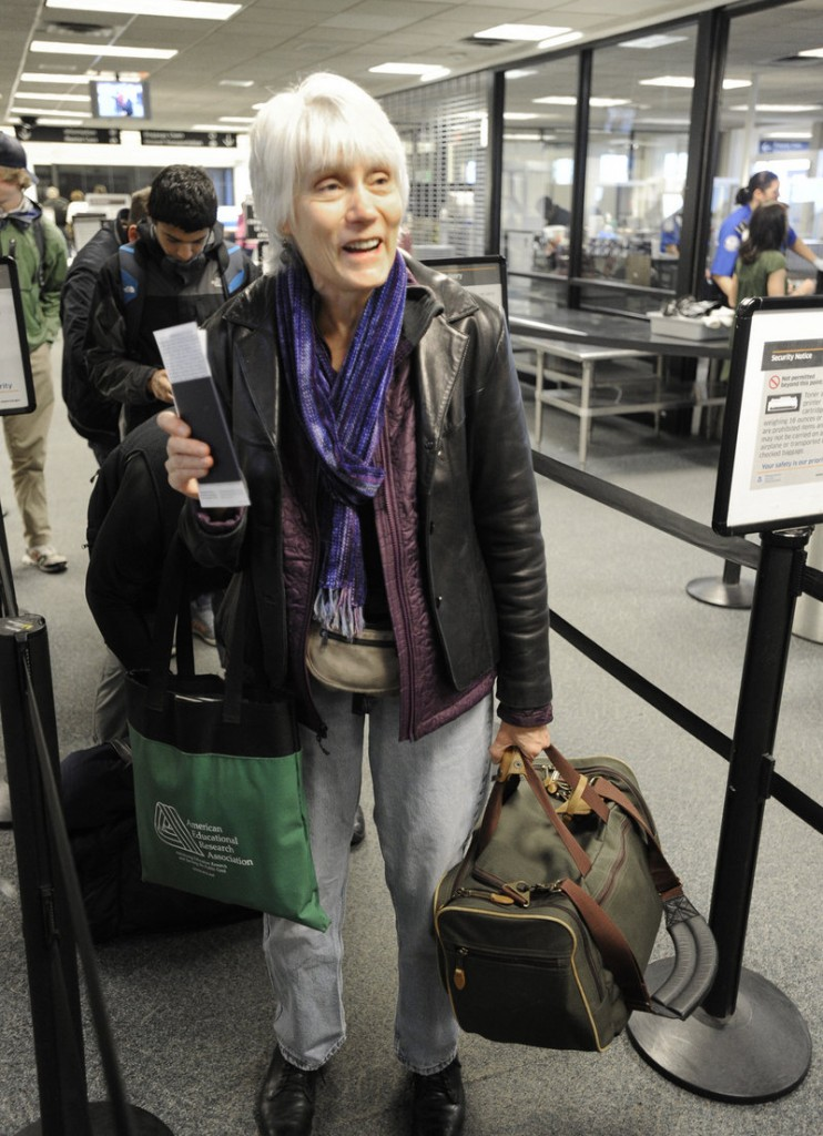 Nancy Austin, who flew out of Portland on Tuesday, says she backs the use of alternative body scanners, which produce a body outline that resembles a stick figure, not a real image of a naked body.