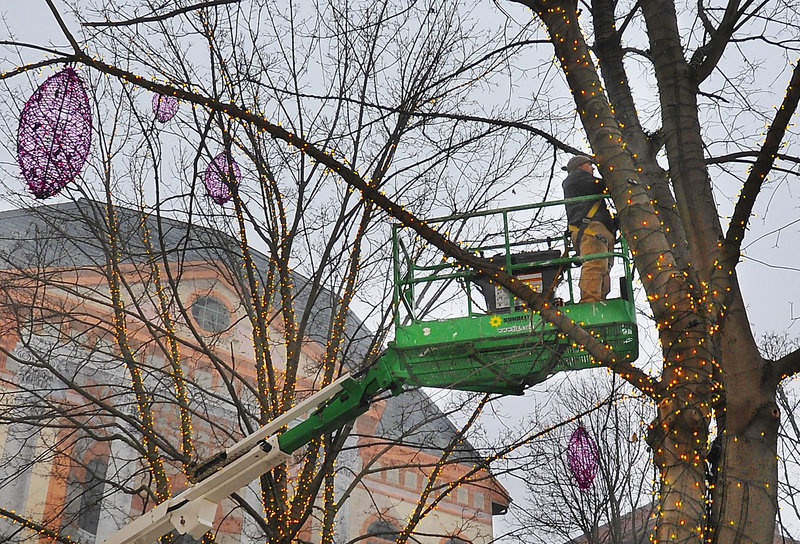 Jesse LaCasse uses a lift to get high into the trees of Tommy's Park in Portland's Old Port to install lights designed by his aunt, Pandora LaCasse. He lights the decorations while he works to get a better idea of how they will look.