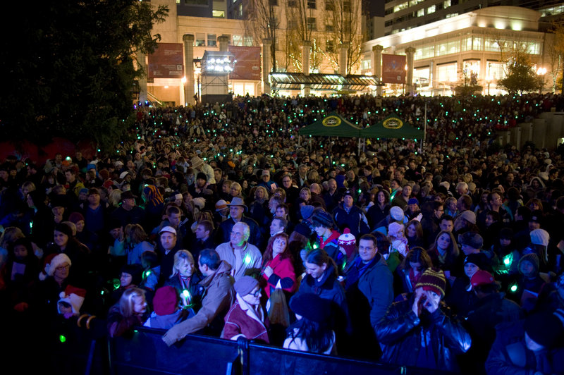 Thousands watch as a Christmas tree is lit Friday night at Pioneer Courthouse Square in Portland, Ore. Mohamed Osman Mohamud, a naturalized U.S. citizen, was arrested after trying to blow up a van full of what he believed were explosives at the ceremony, authorities say.
