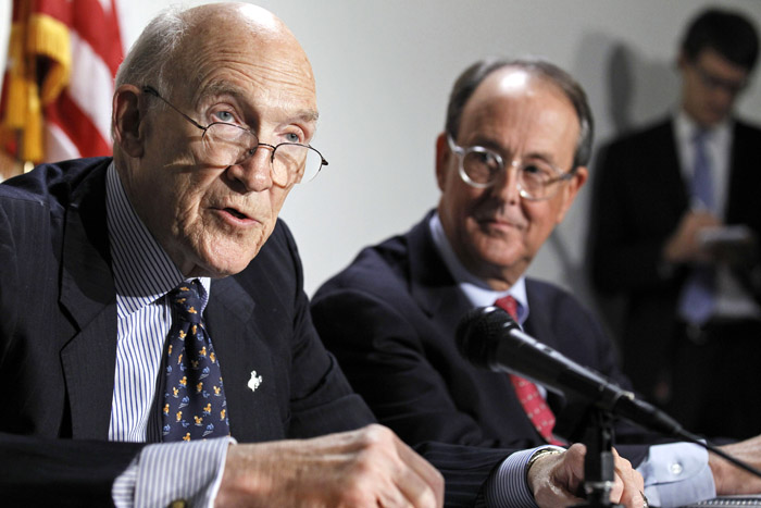 President Barack Obama's Debt Commission co-chairmen, former Wyoming Sen. Alan Simpson, left, and Erskine Bowles discuss the panel's deficit reduction plan on Capitol Hill Tuesday.