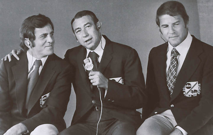 A 1972 photo provided by ABC of Don Meredith, left, Howard Cosell and Frank Gifford. Meredith, one of the most recognizable figures of the early Dallas Cowboys and an original member of ABC's