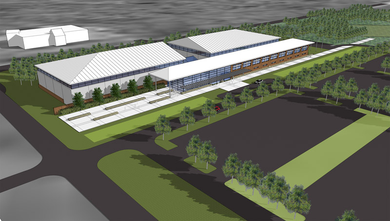The 105,000-square-foot complex will be situated between the new Sokokis Hall and blue turf athletic field along Route 9.