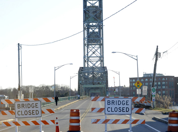 Memorial Bridge was closed at noon today to all but pedestrian and bicycle traffic.