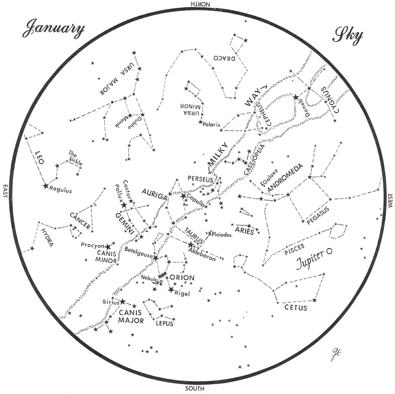 This chart represents the sky as it appears over Maine in January. The stars are shown as they appear at 9:30 p.m. early in the month, at 8:30 p.m. at midmonth and at 7:30 p.m. at monthâ s end. Jupiter is shown in its midmonth position. To use the map, hold it vertically and turn it so the direction you are facing is at the bottom.