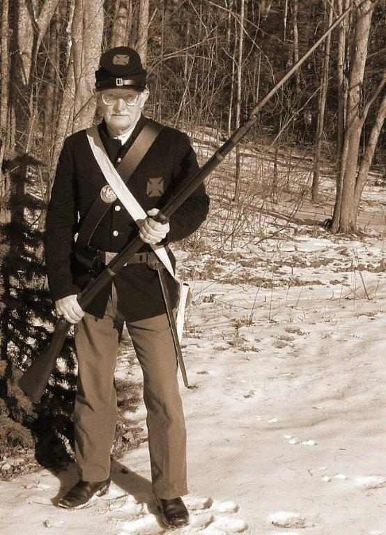 Hank Lunn will don a Civil War era costume today to give a historic portrayal of 20th of Maine soldier Myron Harris at the Union Historical Society's meeting.