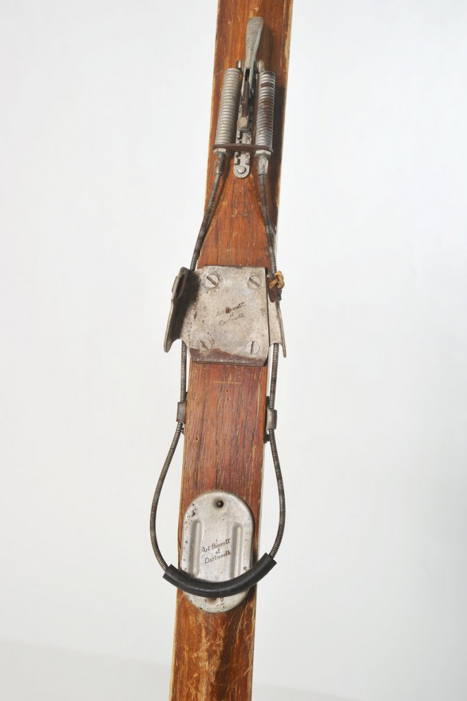 """The bindings that hold skiers onto their boards have changed dramatically. In 1936 a """"bear-trap"""" design, made of metal, was used. The binding locked a boot in and didn't let go."""