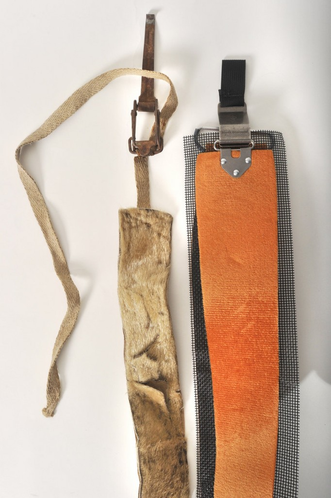The original climbing skins were made from seal skin, because the seal fur lay flat in one direction so the skis would move one way, but not the other. The skins tied onto the skis with metal clasps and allowed skiers to climb – which everyone had to do in the days before lifts. Today, skins are made from synthetic material that works the same way, but they stick to the skis with a glue-like substance. You still gotta climb, though.