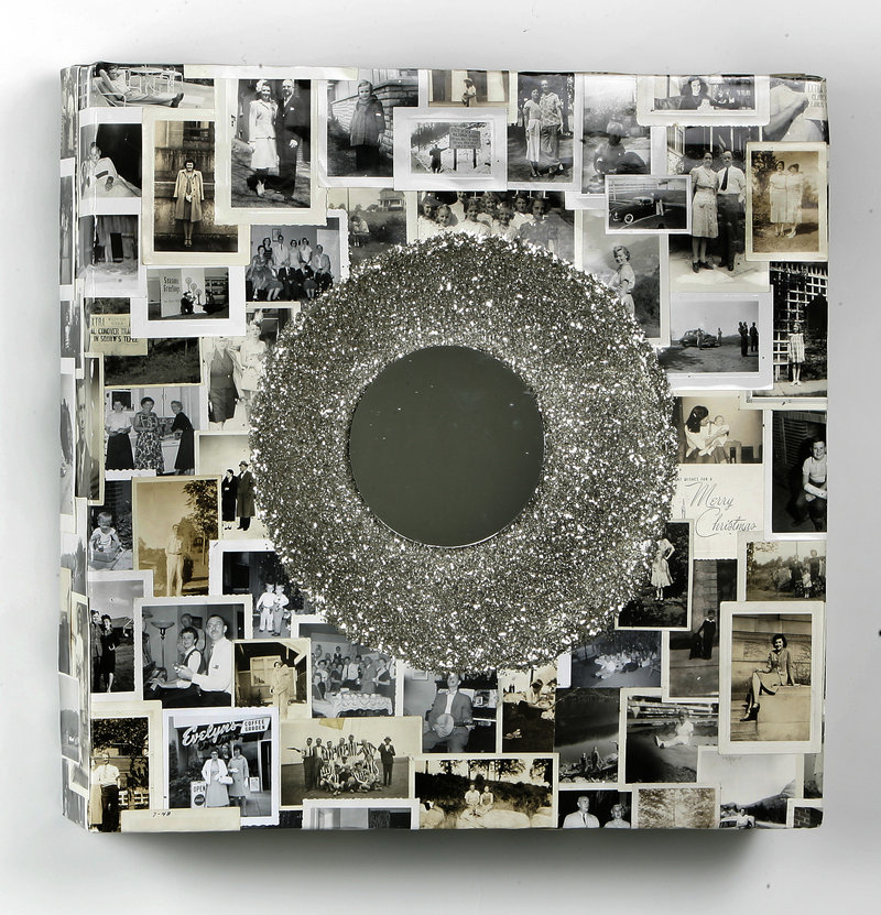 Dan Meiners' square wreath is covered in vintage snapshots.