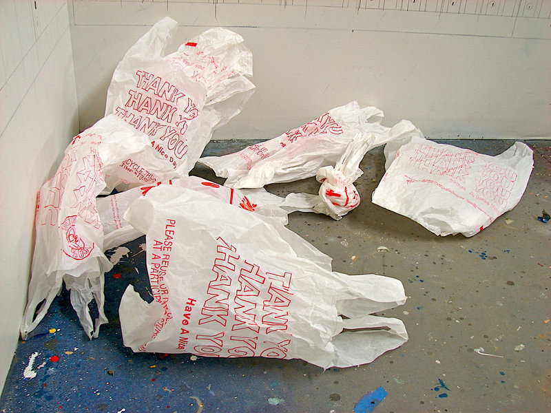 Carly Glovinski's Untitled (plastic bags), ink, tracing paper and adhesive