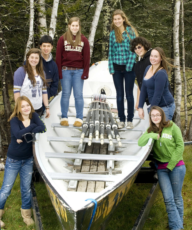 North Haven may be the smallest high school in the Maine Principals Association – all of 16 students – but there s a bond, including a passion for rowing. The team includes, from left: Kennedy Cooper, Abi Campbell, Ethan Taylor, Erin Cooper, Leta Hallowell, Rico Rattina, Cody Joyce and Natalie Carrier.