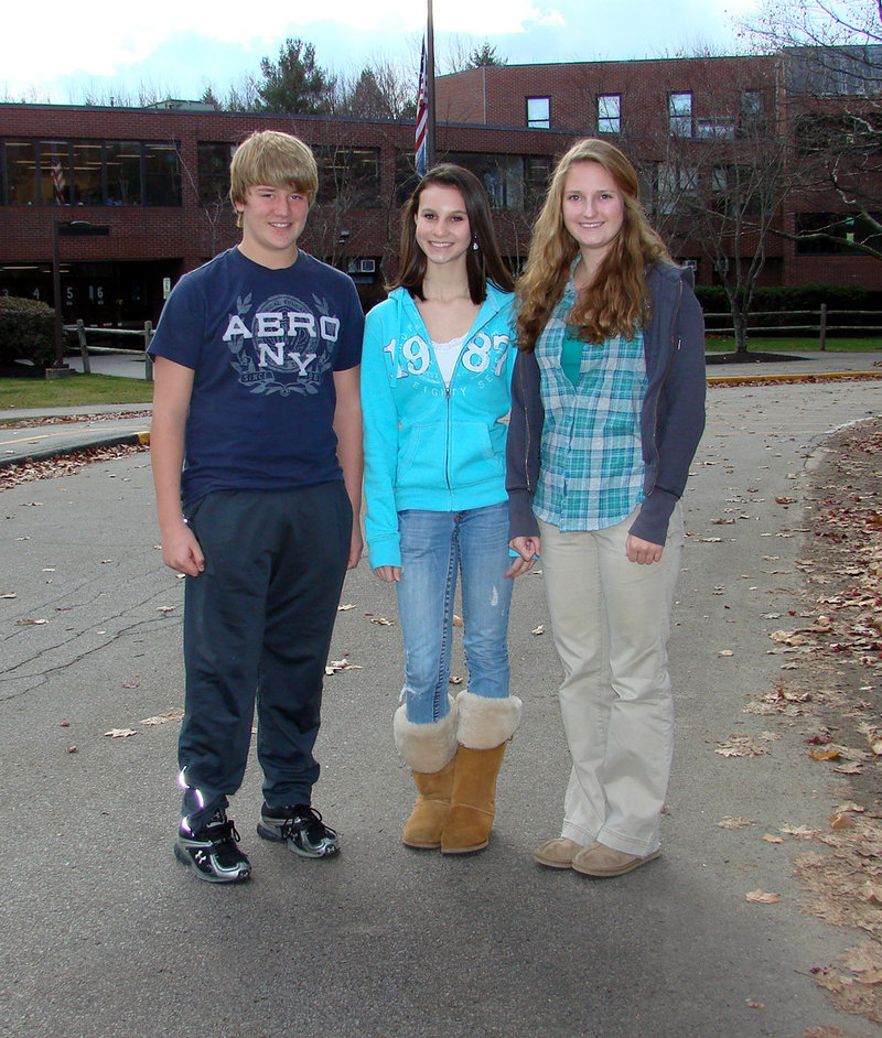 Wells High School freshmen Bennie McMinis, Kasey Bullard and Jasmine Loukola will attend the National Youth Leadership Conference for New England this weekend.