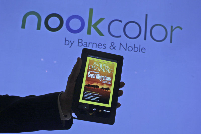 The Nook e-reader sold by Barnes & Noble has a color touch screen and sells for $249.
