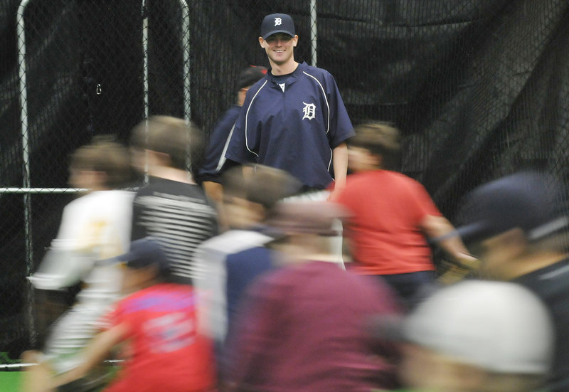 Charlie Furbush, who went to South Portland High and St. Joseph's College, is enjoying an offseason that included instructing more than 40 young players Saturday. Furbush rose from Class A to Triple-A last season.