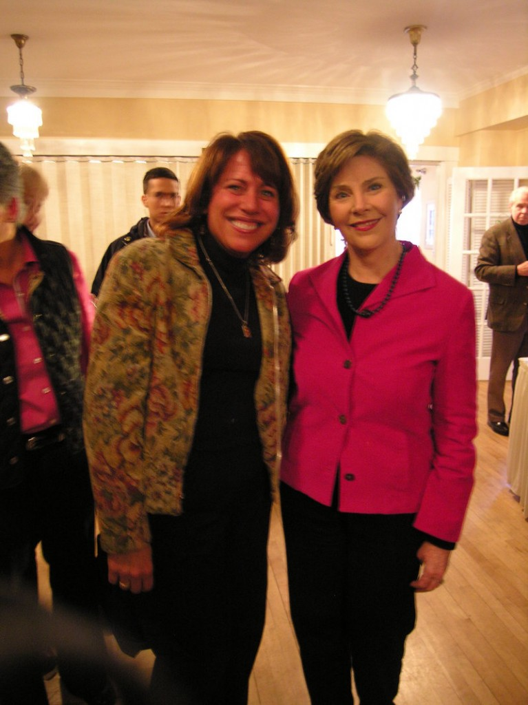 Former first lady Laura Bush poses with Maine Buck Nuts owner Sheila Speckin during a fundraiser at the Nonantum Resort in Kennebunkport on Saturday. The event was to benefit the