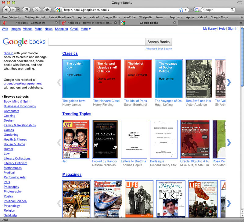 The Google books website is shown in this screen shot. The long-awaited Internet book store opened Monday in the United States, drawing upon a portion of the 15 million printed books Google has scanned into its computers during the past six years.