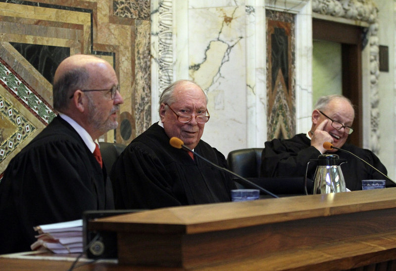 From left are Senior Circuit Judge Michael Daly Hawkins, Circuit Judge Stephen R. Reinhardt and Circuit Judge N. Randy Smith.