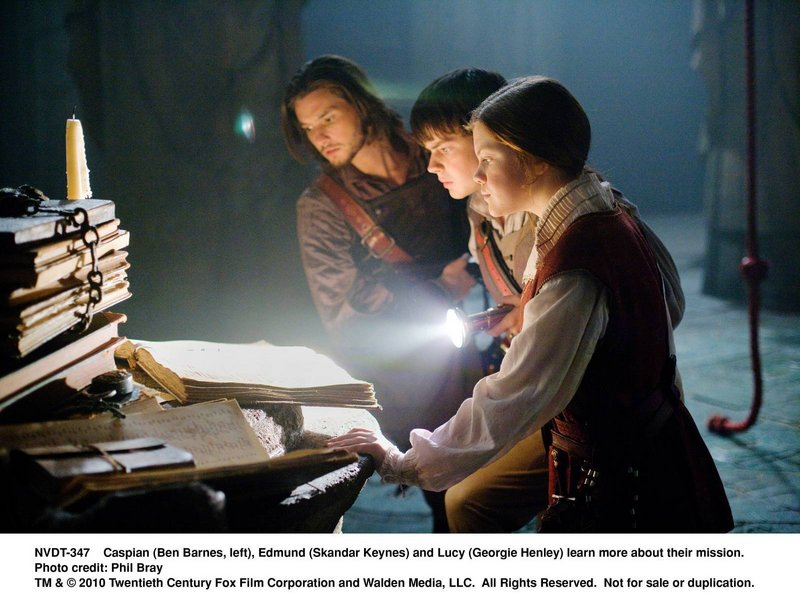 Prince Caspian (Ben Barnes, left), Edmund (Skandar Keynes) and Lucy learn more about their mission in
