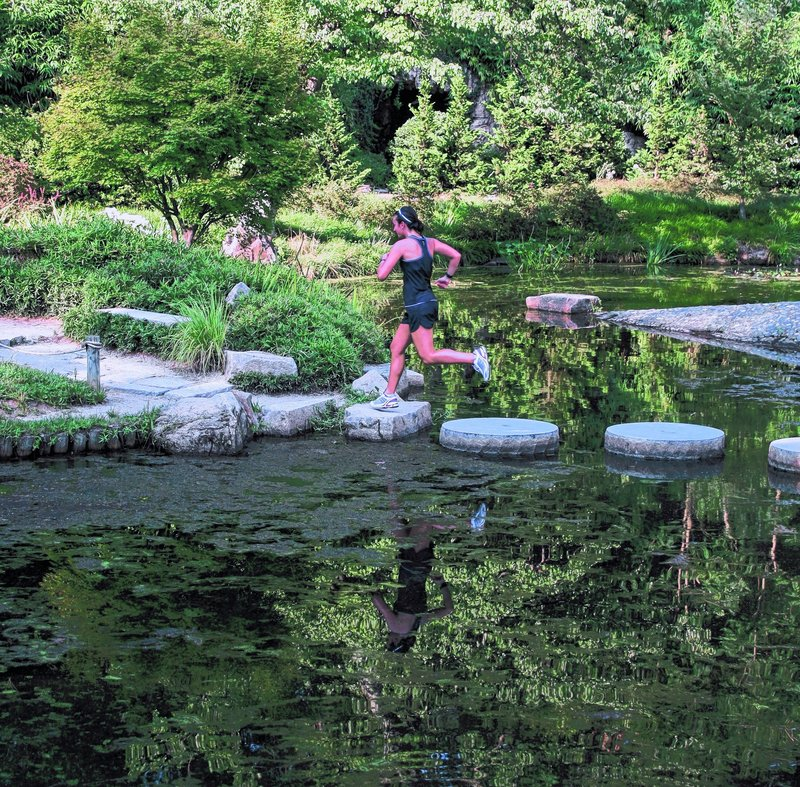 Zoe Romano, a 2005 graduate of Portland High School, runs in Maymont Park in Richmond, Va. She has been training since June for her 3,000-mile cross-country run to raise money for the Boys & Girls Clubs.