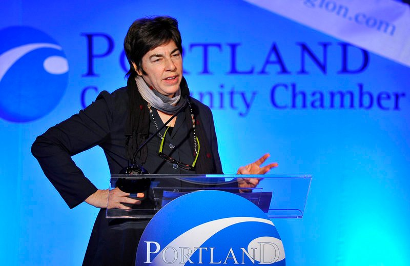 Burt's Bees co-founder Roxanne Quimby speaks at the Portland Regional Chamber's monthly Eggs & Issues breakfast at the Holiday Inn by the Bay in Portland on Wednesday.