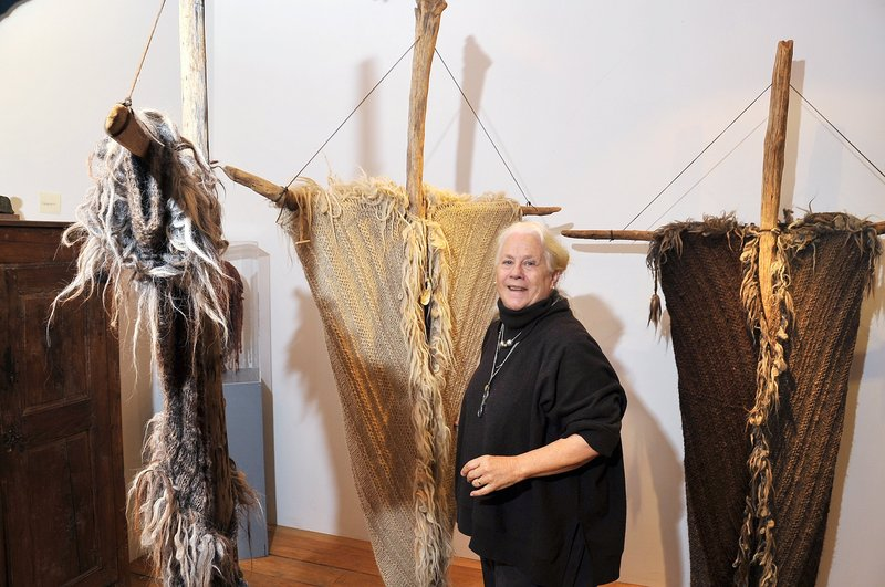 """Katharine Cobey's installation, """"Ritual Against Homelessness,""""is now on display at Maine Fiberarts in Topsham."""