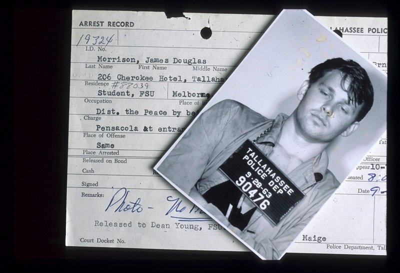 This Sept. 28, 1963, photo shows the police mug shot and record of The Doors singer Jim Morrison from his arrest after a football game at Florida State University.