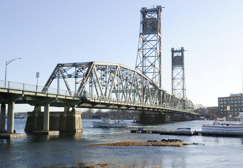 The Memorial Bridge spans the Piscataqua River from Kittery to Portsmouth, N.H. The 87-year-old steel bridge is scheduled to be demolished in 18 months to make way for a new bridge, which would open about 18 months after that.